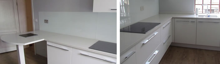 White Glass worktops and splashbacks