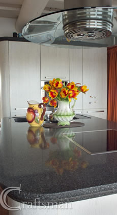 Kitchen worktops in light granite