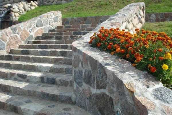 Stone offcuts used for staircase