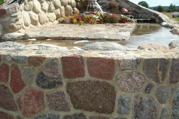 Stone offcuts water feature
